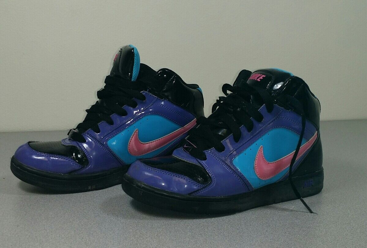 Nike Air 2008 Purple Black Pink Swoosh Turquoise Limited run High Tops W 7.5