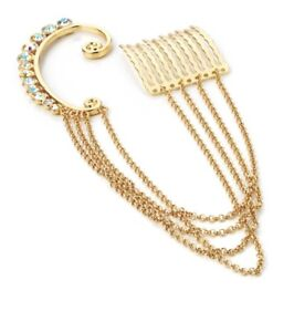 Details About Gold Hook And Ab Crystal Ear Cuff Earring With Chain Connected Comb