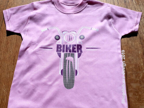 Kids pink purple My Uncle Auntie A Biker motorcycle t shirt 6 months 6 years