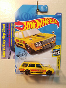 V323 Lot 10 2020 Hot Wheels DATSUN BLUEBIRD WAGON 510 Kroger Exclusive Yellow
