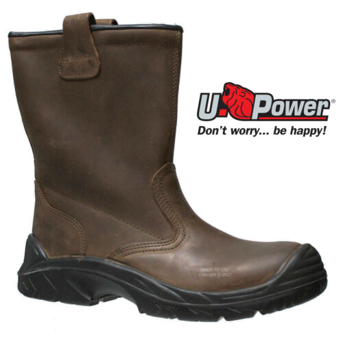MENS UPOWER WATERPROOF LEATHER S3 SAFETY COMPOSITE TOE CAP RIGGER WORK BOOTS