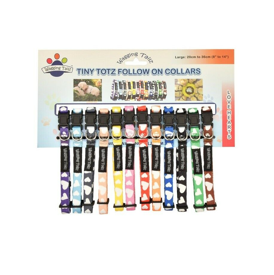Wagging Tailz Tiny Totz Follow On Collars for Puppy Hearts Adjustable 12pk