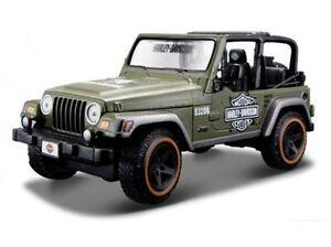 Custom Jeep Rubicon >> Details About Harley Davidson Custom Jeep Wrangler Rubicon Army Green Maisto 1 27