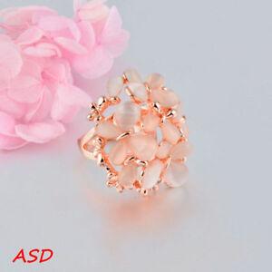 Girl Beige Opal Butterfly Flower Group Rose Gold Ring For Birthday