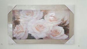 Quadro moderno con rose da parete in legno cornice tortora e