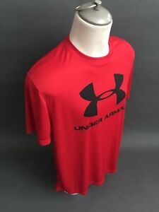 UNDER-ARMOUR-LOOSE-HEAT-GEAR-STRETCH-Short-Sleeve-Shirt-Men-039-s-Large-L-Red