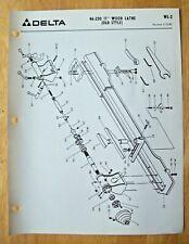 Original Delta 11 Wood Lathe Old Style 46 230 Illustrated Parts List Wl 2