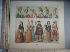 Rare Antique Orig VTG France, Costumes Hats Fashion Vallet Color Litho Art Print