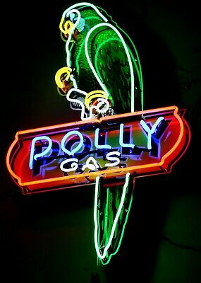 Polly Gas Neon Sign round wilshire oil cans petroleum tin sign gas station auto