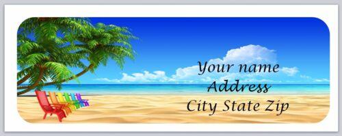 c 858 30 Personalized Return Address Labels Beach Scene Buy 3 get 1 free