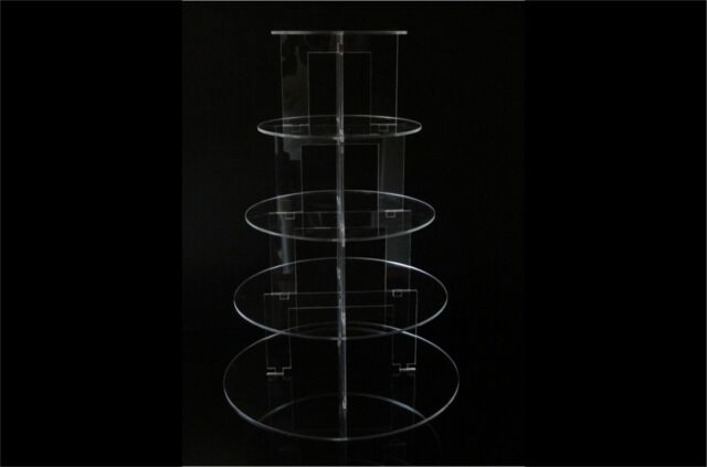 5 TIER CIRCLE ACRYLIC CUPCAKE PARTY WEDDING CAKE STAND