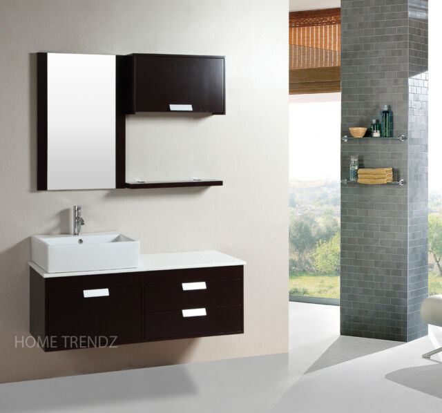 48 Inch Wall Mount Floating Bathroom Cabinet With Mirror Faucet