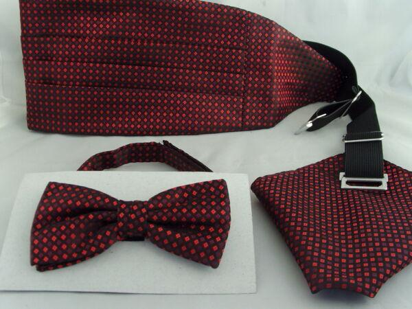 13) Rosso / Burgundy-tiny Diamanti Shapes-silk Uomo Papillon + Cummerbund & Hanky Set-iny Diamonds Shapes-silk Mens Bow Tie + Cummerbund & Hanky Set Bello A Colori
