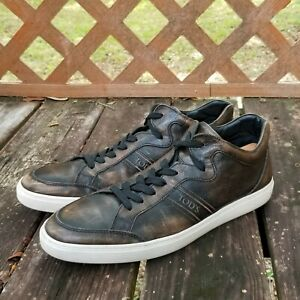 Tods-Mens-Leather-Sneakers-Brown-Size-12-Distressed-Look