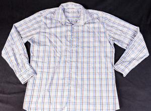 Peter-Millar-Mens-L-S-Button-Front-Multi-Color-Box-Plaid-Shirt-Size-Large