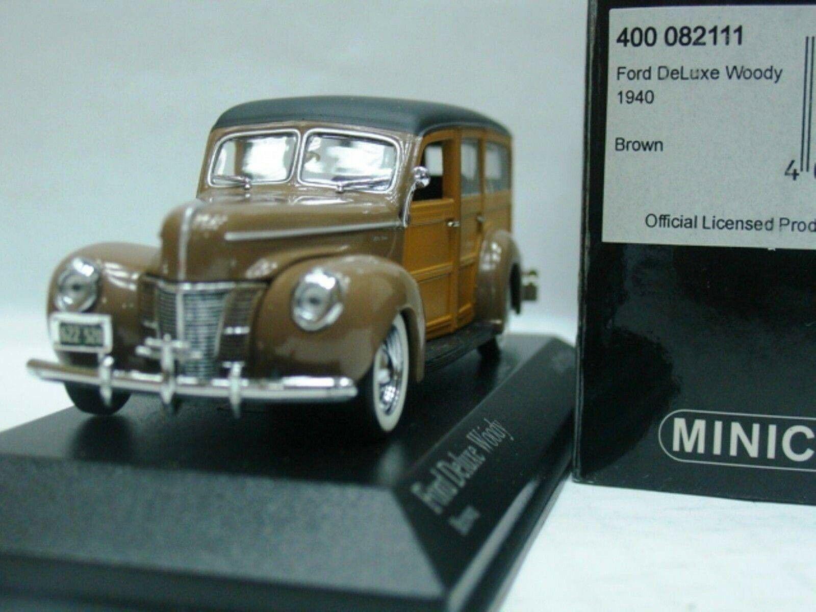 Wow extremamujerte raro Ford Deluxe Woody SW 3.6L V8 1940 marrón 1 43 Minichamps-Edsel