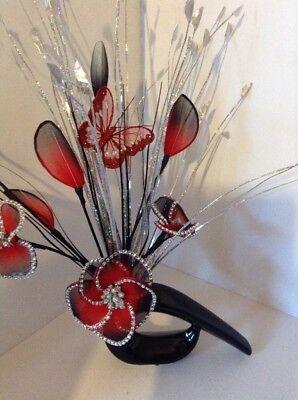 Artificial Flower Arrangement Glitter Red Nylon Flowers In Black Vase