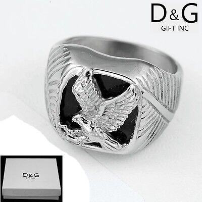 Box DG Men/'s Stainless Steel Silver Black,Eagle Rings,Unisex 8 9 10,11,12