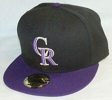 NEW Era 59fifty COLORADO ROCKIES Baseball Hat BLACK fitted cap SIZE 6-1/2 MLB