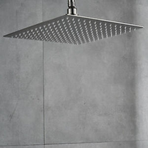Image Is Loading Ultrathin Brushed Nickel 16 Inch Square Rain Shower