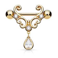 PAIR Heart Filigree w/ Teardrop Nipple Rings Shields - Steel, Gold or Rose Gold