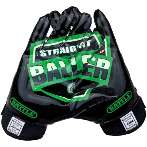 Black//Green Battle Sports Science UTR Straight Baller Adult Receiver Gloves