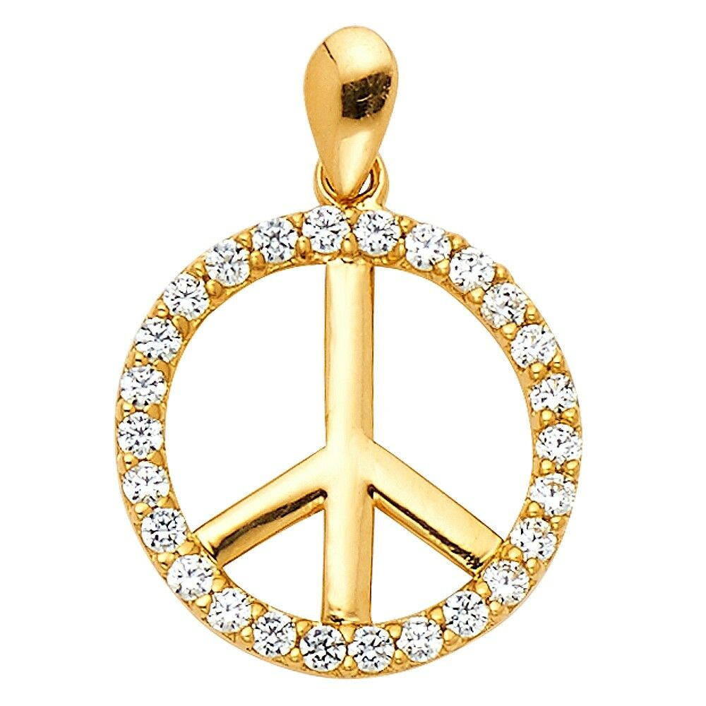 Peace Sign Pendant Solid 14k Yellow gold Charm Round Medal Circle Life 15x15 mm
