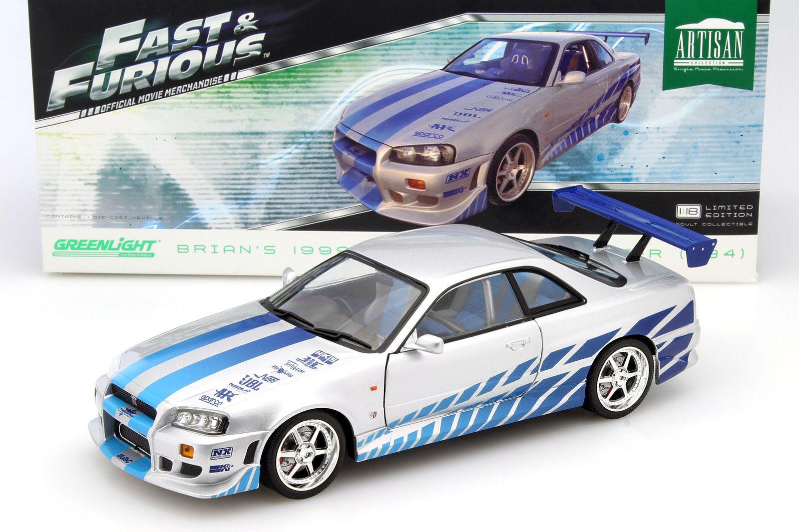 GRENljus 2 Fast 2 Furious Brian's 1999 Nissan Skyline GT -R (R34) 1 18 New