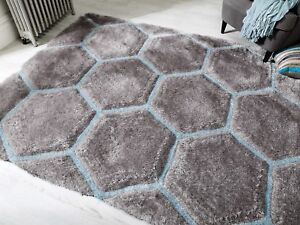 Verge-Honeycomb-Grey-Duck-Egg-Blue-Pebble-Thick-3D-Shaggy-Rug-in-various-sizes