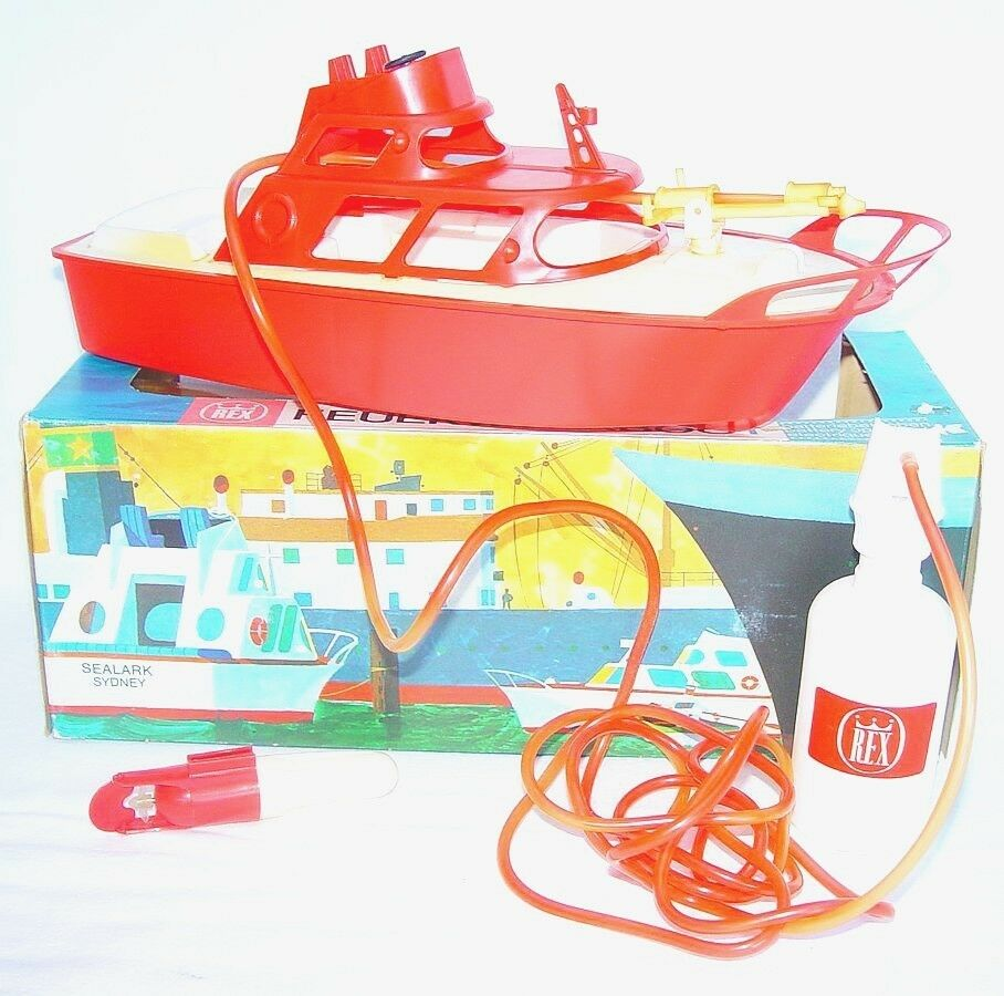 Rex Germany SEALARK SIDNEY FIRE FIGHTING BOAT Plastic Batt. Op. MIB`75 TOP RARE