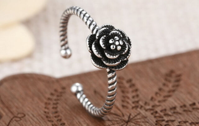 925 Sterling Silver - Vintage Pretty Party Hemp Flowers Open Lady Ring Size 6