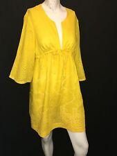 DVF Diane Von Furstenberg soleil LINEN KLEIO Cover Up Dress swim Yellow $185 M