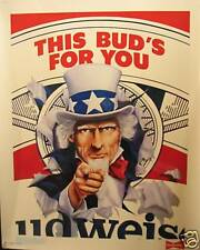 1986 Uncle Sam Budweiser Beer Store Sign Old Stock