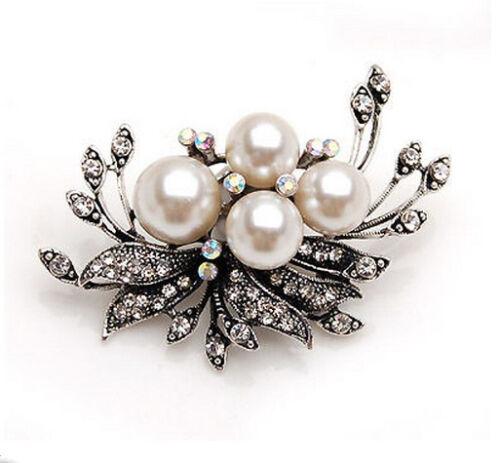 Vintage Antik Silber und Creme Perlen Korsage Hochzeit Brosche BR177