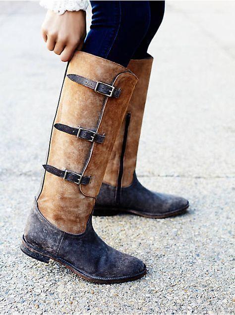 Faryl Robin x Free People GREAT FALLS FALLS FALLS Stiefel grau distressed leather buckles 7 e18c25