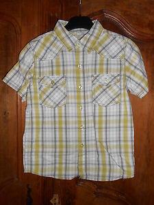 chemisette-a-carreaux-vert-gris-taille-8-ans-neuf