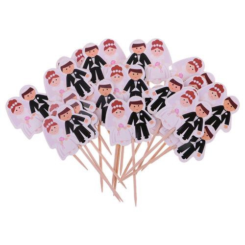 20 x Wedding Bride and Groom Cupcake Picks Wedding Anniversary Decor