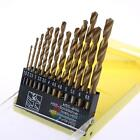 13Pcs HSS High Speed Gold Steel Twist Drill Metal Bit Set For Rotary Tool New