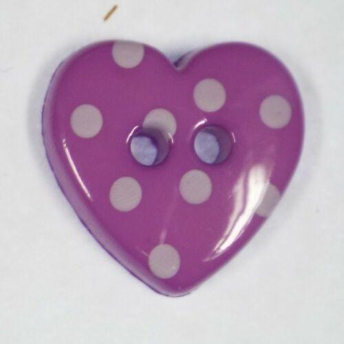 WASHABLE Polka Dot Plastic Buttons 15mm Heart /& 18mm Star Baby Kid Children Etc