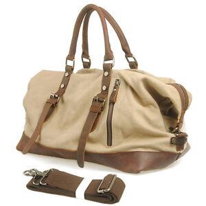 Image is loading Vintage-Retro-Men-Women-Travel-Bag-Leather-Canvas- 5359c0906