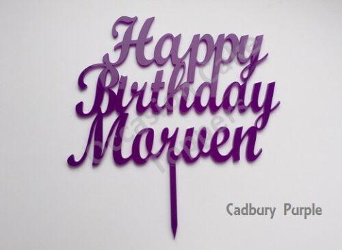 Personalizado Feliz Cumpleaños nombre y edad Cake Topper Brillo y Colores