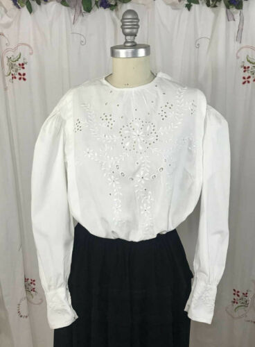 Antique Edwardian Blouse Broderie Anglaise White C