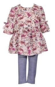 Bonnie-Jean-Bell-Sleeve-Floral-Print-Flounce-Dress-and-Blue-Legging-Pants-Set