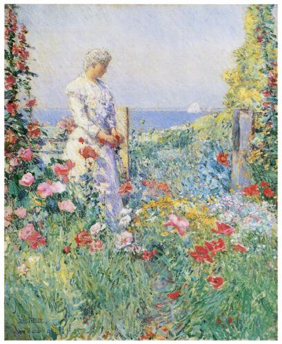 Decor Floral POSTER 1635 Woman admiring garden Flower Home Shop Wall Art