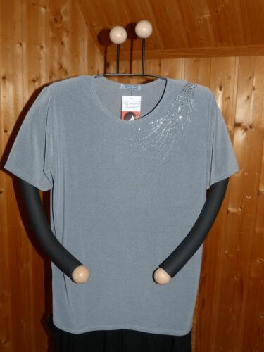 40-58 Magna Kurzarmshirt Shirt elastisch edel zeitlos Slinky-Qualität Grau Gr