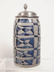 Rarität antiker Jugendstil Bierkrug 1 Liter Masskrug blau glasiert Metallmontur