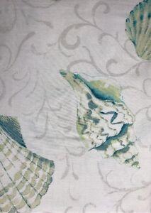 Image Is Loading Nautical Print Shower Curtain Shells Blue Green Coastal