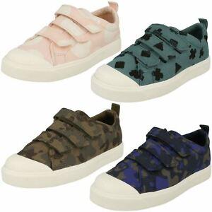 Childrens Boys Girls Clarks Hook & Loop Patterned Canvas Shoes 'city Flare Lo K' Strukturelle Behinderungen Kleidung & Accessoires Schuhe Für Mädchen