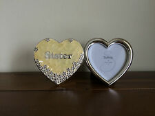 Lovely Quality Sister Photo Frame Gift Enamel & Silver Coated Heart To Heart