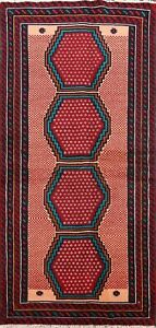 Traditional Tribal Geometric Area Rug Wool Hand-knotted Oriental Carpet 3x6 ft